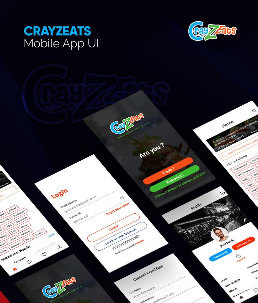 CRAYZEATS Mobile App UI Portfolio
