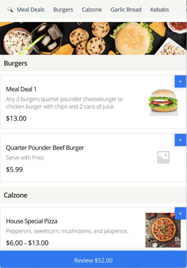 Single Page Restaurant Menu With Editable Cart